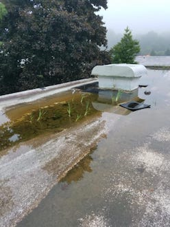 Ponding Water on Low Slope Roof