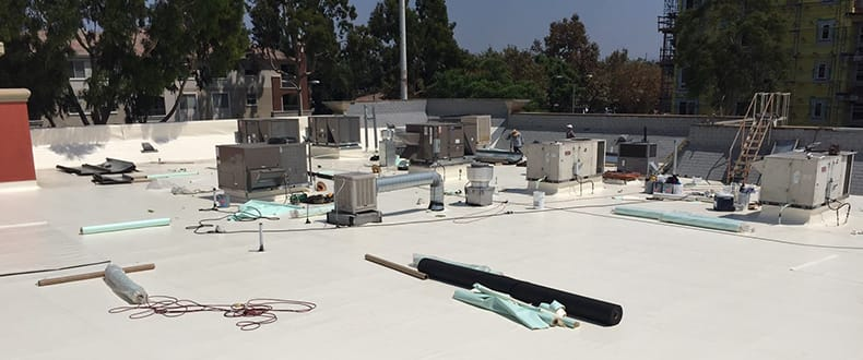 Restaurant roof install in Orange CA [credit - Roofing Standards Inc]