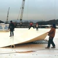 Installation of a Custom Roll of FiberTite Roofing Membrane