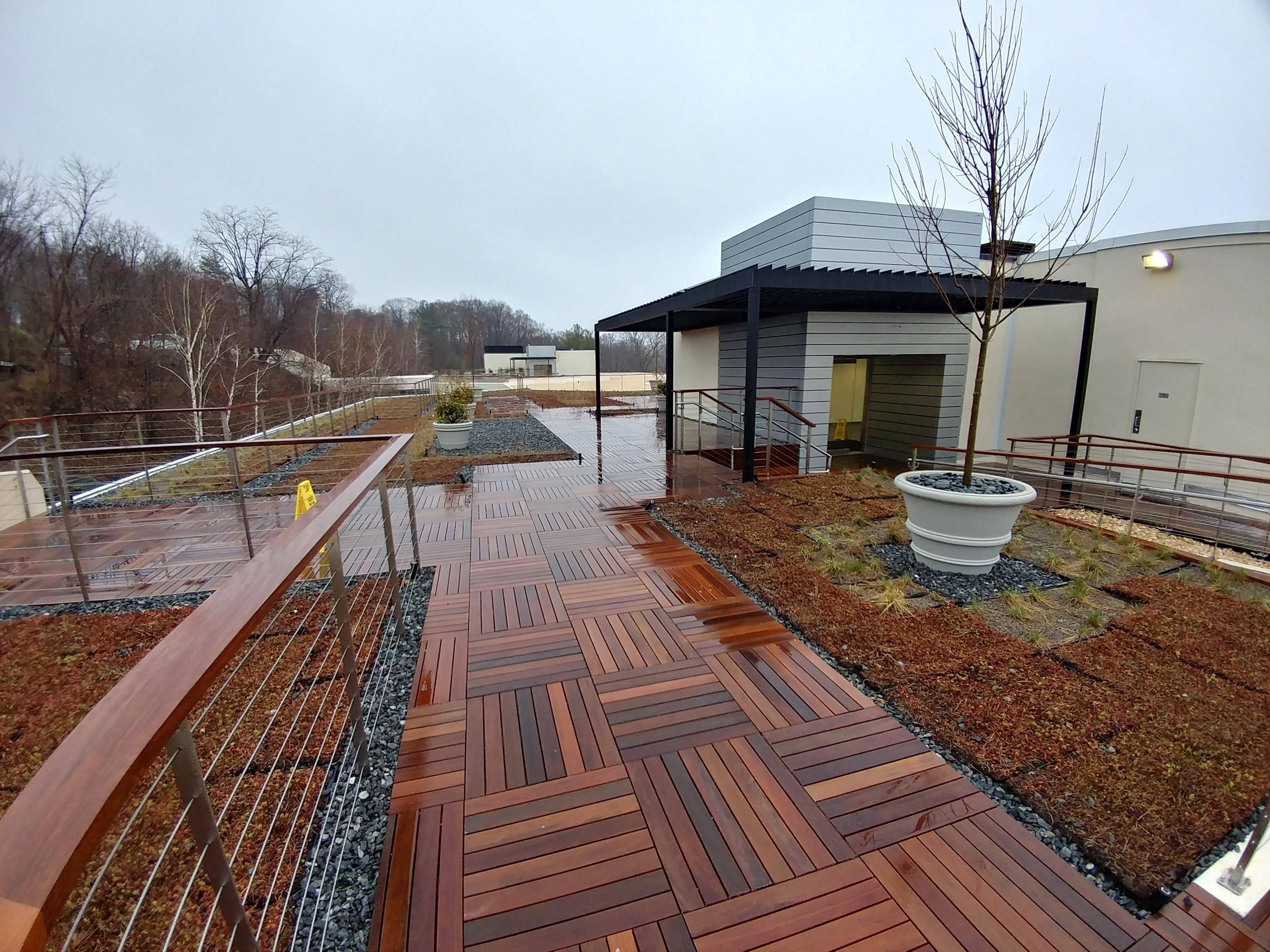 Office Building Green Roof With Garden Areas and Pavers