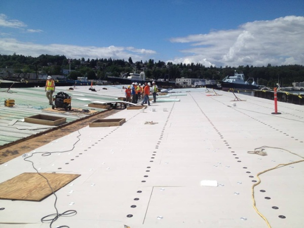 Induction Welded Roofing Installation, Stimson Marina, Seattle