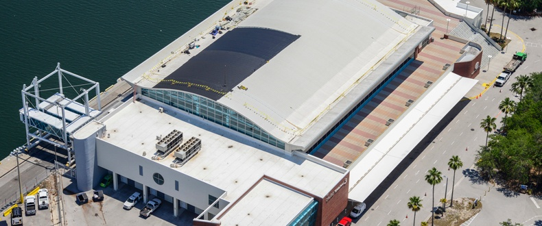 Aerial - Cruise Terminal 3 Roof mid-installation
