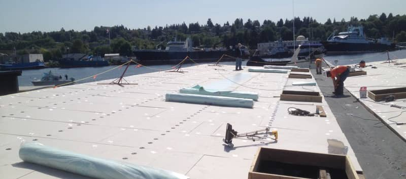 FiberTite Induction Welded Roofing System Installation at Stimson Marina