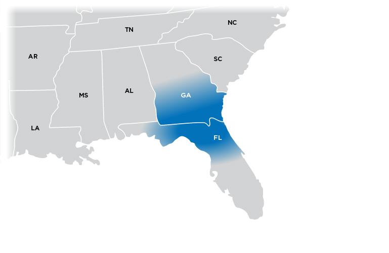 Technical Representative Map - Florida region shown