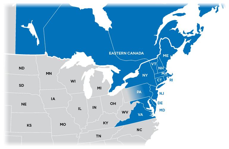 Technical Representative Map - Northeast region shown