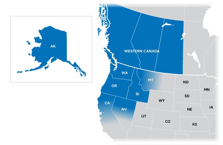 Technical Representative Map - Northwest region shown