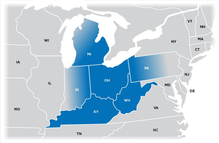 Technical Representative Map - Ohio region shown