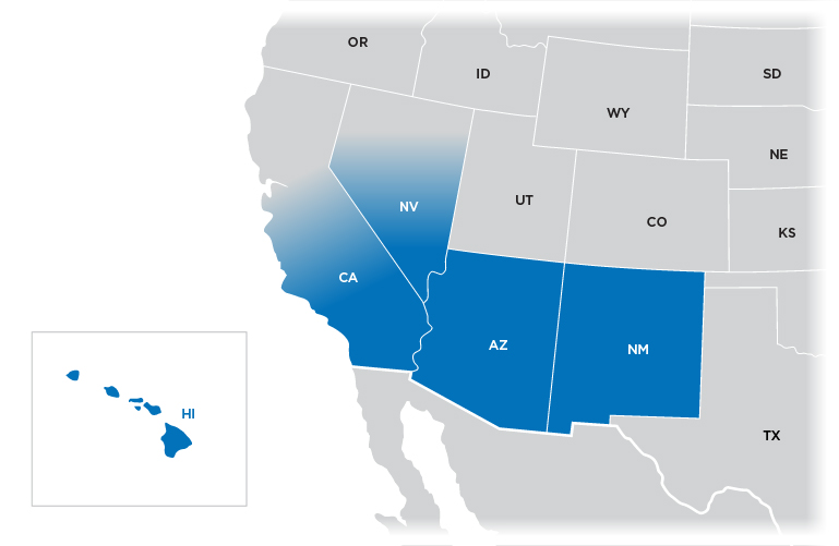 Technical Representative Map - Southwest region shown